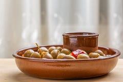Marinated green olives Royalty Free Stock Photos