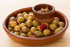 Marinated green olives Royalty Free Stock Photo