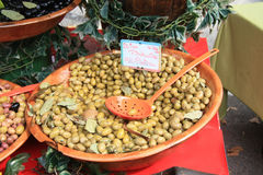 Marinated green olives on a French market Stock Photo