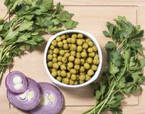 Marinated green peas in bowl Royalty Free Stock Photos