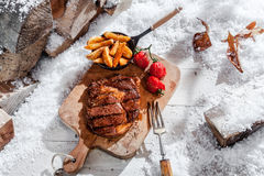Marinated grilled rib-eye steak and vegetables Stock Photos