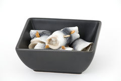 Marinated herring. Scandinavian roll mop. Marinated herring.Healthy Royalty Free Stock Photo