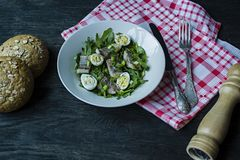 Marinated herring with arugula, onions, boiled quail eggs and lemon juice and olive oil. Delicious salad. Proper nutrition. Dark. Wooden background royalty free stock image