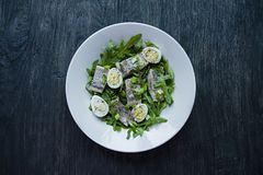 Marinated herring with arugula, onions, boiled quail eggs and lemon juice and olive oil. Delicious salad. Proper nutrition. Dark. Wooden background stock photography
