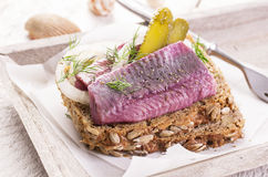 Marinated Herring Fillet Royalty Free Stock Photos
