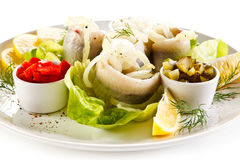 Marinated herring fillets Stock Photo