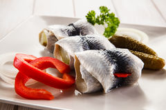Marinated herring fillets Royalty Free Stock Photography
