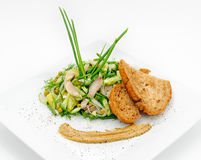 Marinated herring with greenery, mustard and fried bred Stock Photos