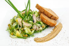 Marinated herring with greenery, mustard and fried bred Stock Images