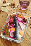Marinated herring and spices Stock Image
