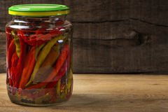 Marinated hot peppers in jar Royalty Free Stock Photo