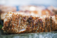 Marinated juicy pork ribs on grill Royalty Free Stock Photo