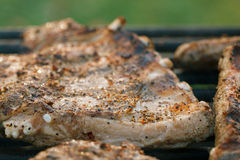 Marinated juicy pork ribs on grill Stock Photography