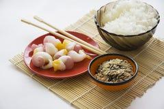 Marinated korean molluscs and coral mushroom Royalty Free Stock Image