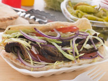 Marinated Lamb Kebab In A Pitta Bread Royalty Free Stock Photos