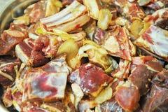Marinated liver, kidneys, lungs meat shashlik Royalty Free Stock Photos