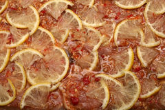 Marinated meat. Marinated raw meat with lemon stock photography