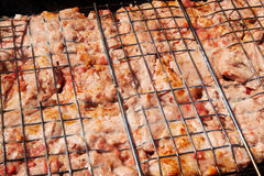 Marinated meat kebab on grill Stock Photography