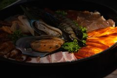 Marinated meat and seafood royalty free stock images
