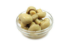 Marinated mushrooms in a glass container Royalty Free Stock Image