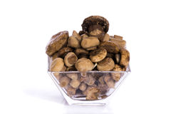 Marinated mushrooms in a glass Royalty Free Stock Images