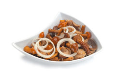 Marinated mushrooms with onions Stock Image