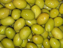 Marinated olives. Agricultural background, a pickled green olives Stock Photography