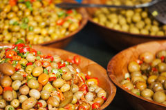 Marinated olives in bowls Royalty Free Stock Images
