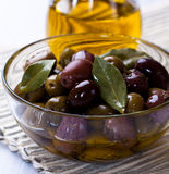 Marinated Olives In A Glass Bowl Royalty Free Stock Photo