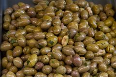 Marinated olives on the market of Catania in Sicily royalty free stock image