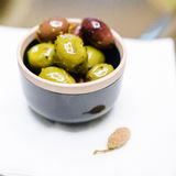 Marinated olives snack Royalty Free Stock Images
