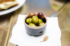 Marinated olives snack Stock Photos