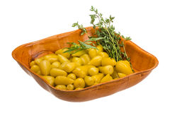 Marinated pepper. Marinated yellow pepper isolated on white background Royalty Free Stock Photo