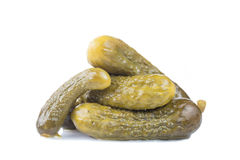 Marinated pickled cucumbers gherkins isolated on white background Royalty Free Stock Photo