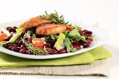 Marinated pork and bean salad Stock Photos