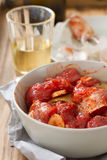 Marinated pork in bowl with glass Royalty Free Stock Photos