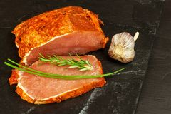Marinated pork chop. Fresh sliced pork. Sale of meat. Preparation for grilling. Royalty Free Stock Photography