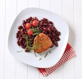 Marinated pork chop with red beans Royalty Free Stock Image
