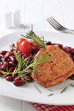 Marinated pork chop with red beans Stock Photos