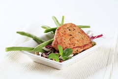 Marinated pork chop and vegetables Royalty Free Stock Photography