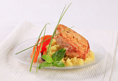 Marinated pork with couscous Royalty Free Stock Images