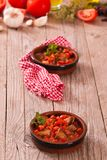 Marinated pork loin in tomato sauce. stock images