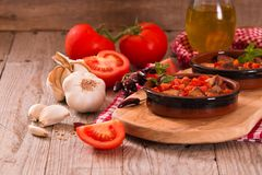 Marinated pork loin in tomato sauce. stock photo