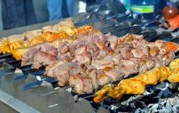 Marinated pork meat shashlik Royalty Free Stock Photos