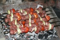 Six meat and veggie skewers being grilled on hot coals royalty free stock photo