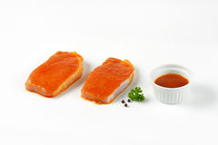 Marinated pork slices Royalty Free Stock Images