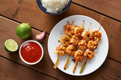 Marinated prank skewers with rice Stock Photo