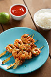 Marinated prank skewers with rice Stock Images