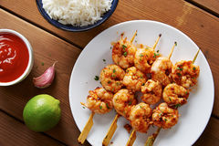 Marinated prank skewers with rice Stock Image