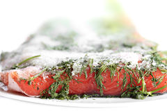 Marinated salmon with dill and black pepper. Stock Photos